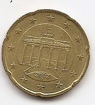 20 евроцентов Германия 2002 регулярная Двор D из обращения