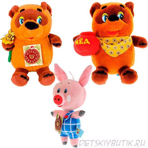 Озвученные мягкие игрушки их мультфильма - Винни Пух и Пятачок