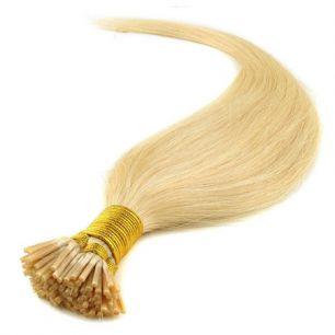 Натуральные волосы на кератиновой капсуле I-тип, №060 Блонд - 50 см, 100 капсул.