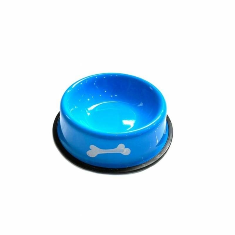 Металлическая миска с прорезиненным основанием Косточки, Голубая