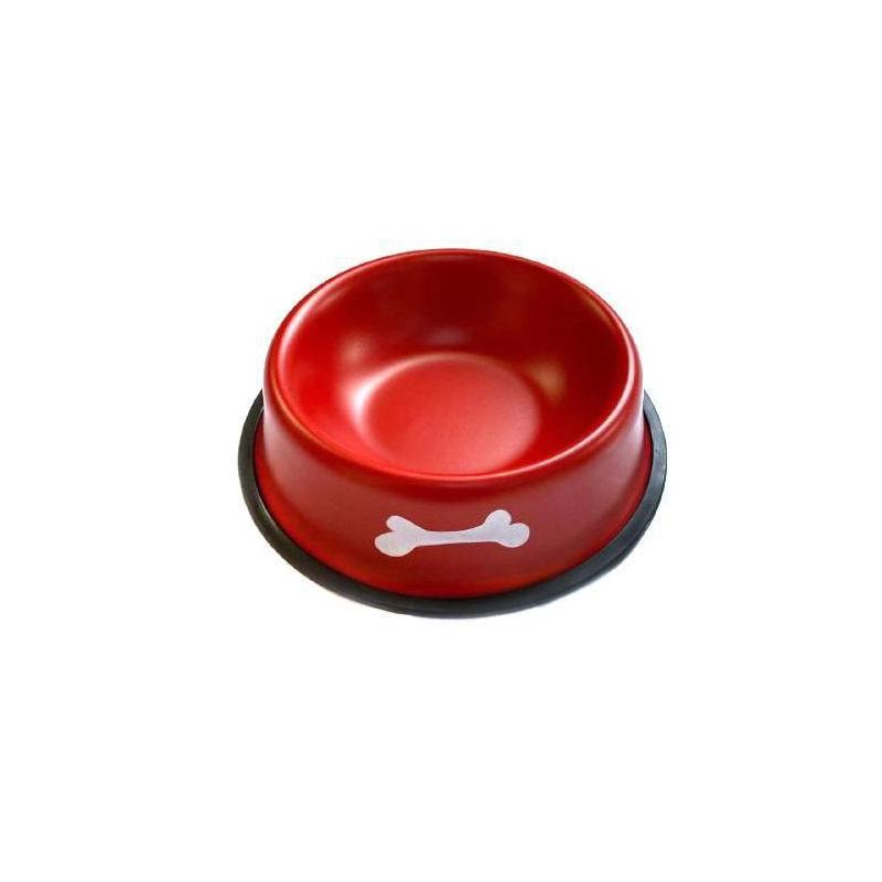 Металлическая миска с прорезиненным основанием Косточки, Красная