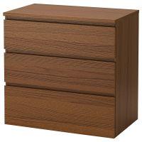 MALM МАЛЬМ, Комод с 3 ящиками, коричневая морилка ясеневый шпон, 80x78 см - 604.035.60