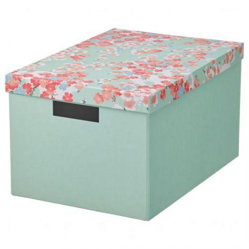 TJENA ТЬЕНА, Коробка с крышкой, цветок/светло-зеленый, 25x35x20 см - 504.770.33