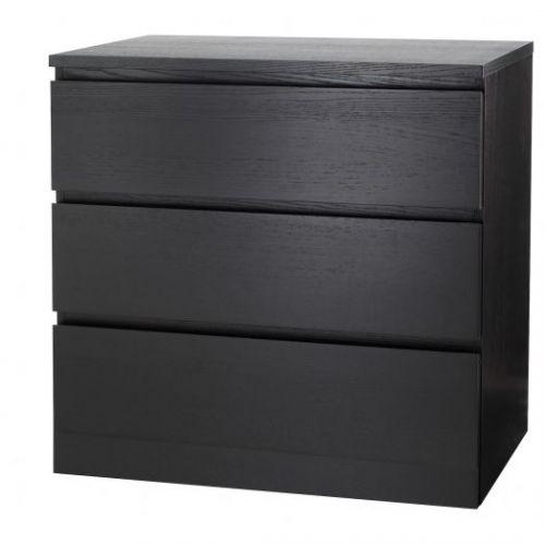 MALM МАЛЬМ, Комод с 3 ящиками, черно-коричневый, 80x78 см - 004.035.58