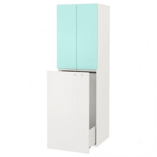 SMASTAD СМОСТАД, Гардероб с выдвижным модулем, белый бледно-бирюзовый/с платяной штангой, 60x57x196 см - 593.959.95