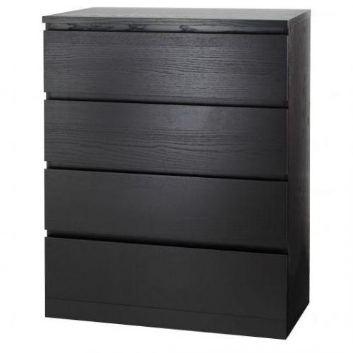 MALM МАЛЬМ, Комод с 4 ящиками, черно-коричневый, 80x100 см - 104.035.67