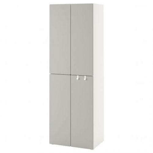 SMASTAD СМОСТАД, Гардероб, белый серый/с 2 платяными штангами, 60x42x181 см - 093.956.05