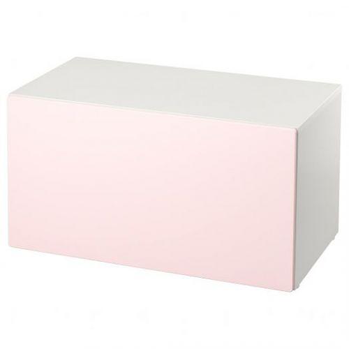 SMASTAD СМОСТАД, Скамья с отделением для игрушек, белый/бледно-розовый, 90x52x48 см - 493.957.12
