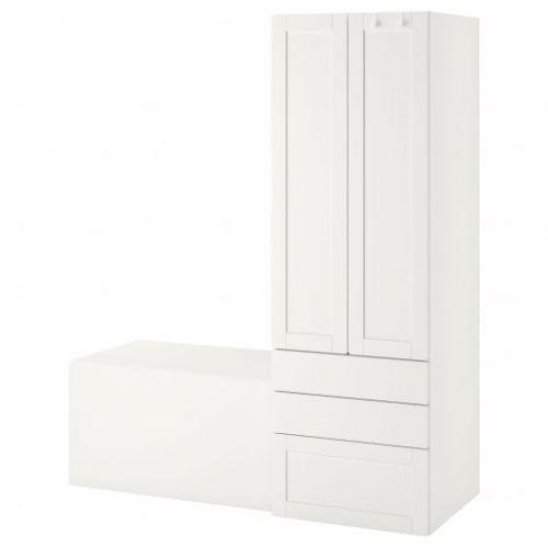 SMASTAD СМОСТАД, Комбинация д/хранения, белый с рамой/со скамьей, 150x57x181 см - 493.959.29