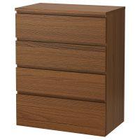 MALM МАЛЬМ, Комод с 4 ящиками, коричневая морилка ясеневый шпон, 80x100 см - 904.035.68