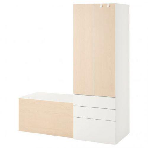 SMASTAD СМОСТАД, Комбинация д/хранения, белый береза/со скамьей, 150x57x181 см - 893.959.27