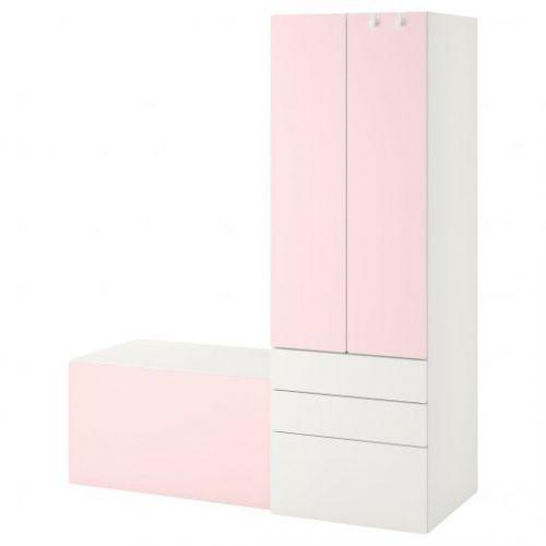 SMASTAD СМОСТАД, Комбинация д/хранения, белый бледно-розовый/со скамьей, 150x57x181 см - 593.959.24