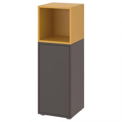 EKET ЭКЕТ, Комбинация шкафов с ножками, темно-серый/золотисто-коричневый, 35x35x107 см - 592.901.25