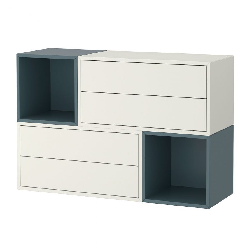 EKET ЭКЕТ, Комбинация настенных шкафов, белый/серо-бирюзовый, 105x35x70 см - 193.860.64