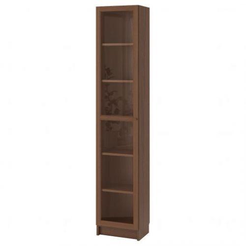 BILLY БИЛЛИ / OXBERG ОКСБЕРГ, Шкаф книжный со стеклянной дверью, коричневый ясеневый шпон/стекло, 40x30x202 см - 692.874.05
