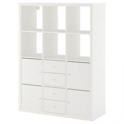 KALLAX КАЛЛАКС, Стеллаж с 6 вставками, белый, 112x147 см - 892.782.64