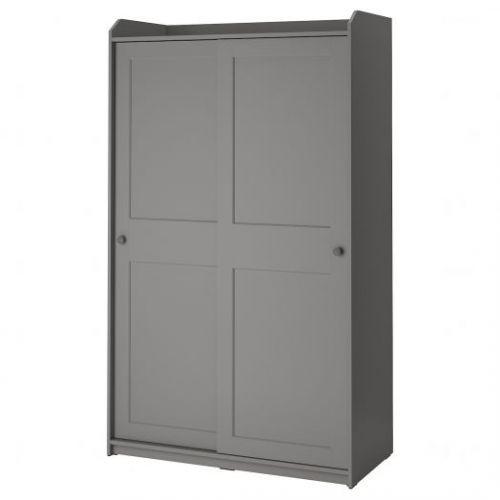 HAUGA ХАУГА, Гардероб с раздвижными дверями, серый, 118x55x199 см - 804.569.15