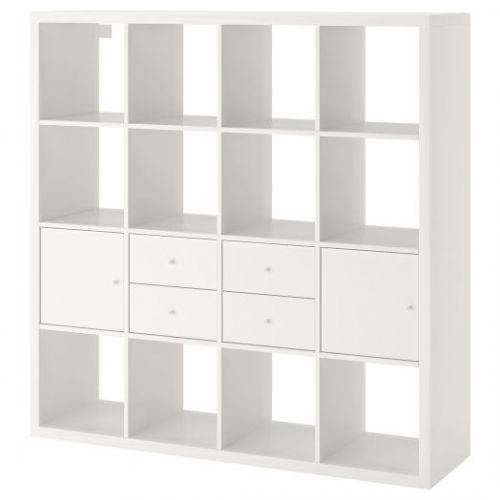 KALLAX КАЛЛАКС, Стеллаж с 4 вставками, белый, 147x147 см - 792.783.30
