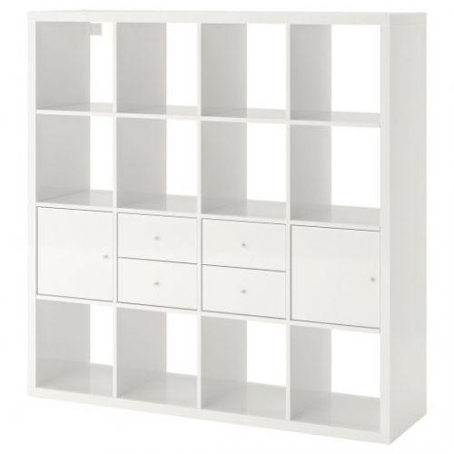KALLAX КАЛЛАКС, Стеллаж с 4 вставками, глянцевый/белый, 147x147 см - 192.783.33