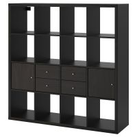 KALLAX КАЛЛАКС, Стеллаж с 4 вставками, черно-коричневый, 147x147 см - 392.783.27