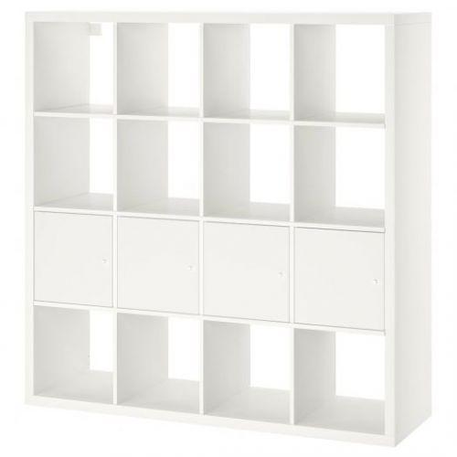 KALLAX КАЛЛАКС, Стеллаж с 4 вставками, белый, 147x147 см - 592.269.12