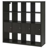KALLAX КАЛЛАКС, Стеллаж с 4 вставками, черно-коричневый, 147x147 см - 792.269.11