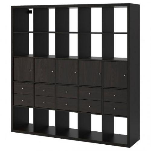 KALLAX КАЛЛАКС, Стеллаж с 10 вставками, черно-коричневый, 182x182 см - 292.783.37