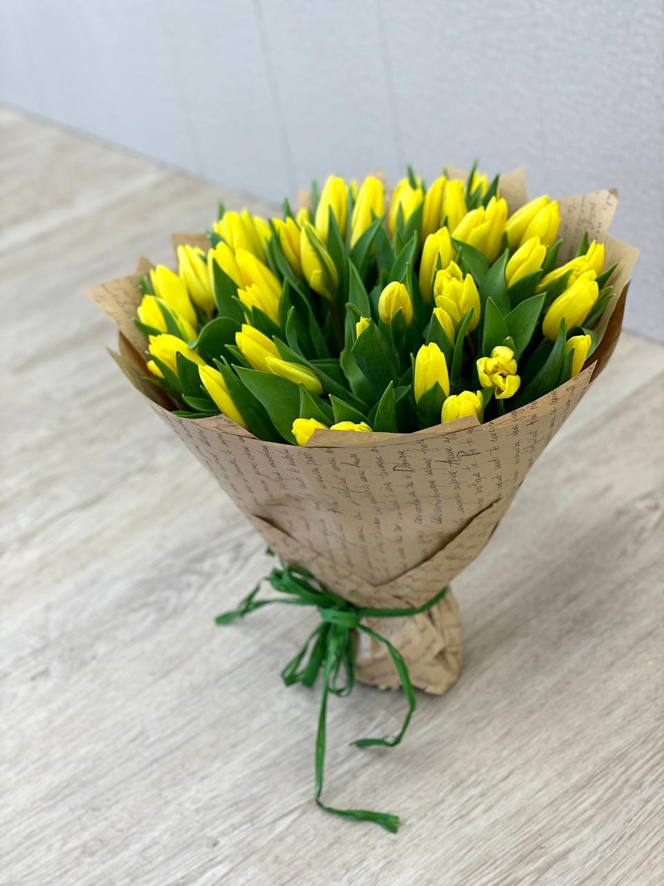 Букет из 51 тюльпана желтого