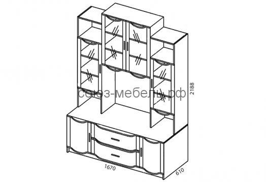Гостиная Магнолия (шкаф ШУ+витрина ШМ-3+полка ТВ+шкаф ШУ)