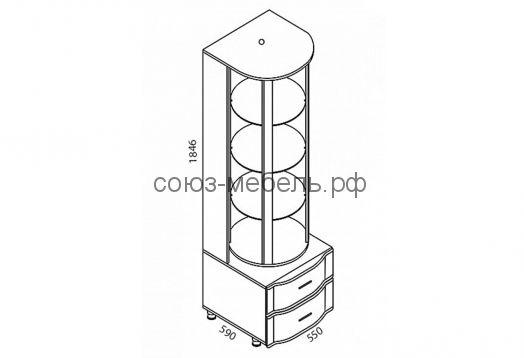 Гостиная Глория (бар БР (2шт)+тумба ТБ-2+шкаф навесной ШН-3+карниз КР-3)