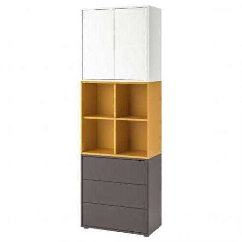 EKET ЭКЕТ, Комбинация шкафов с ножками, белый/золотисто-коричневый темно-серый, 70x35x212 см - 792.865.23