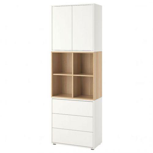 EKET ЭКЕТ, Комбинация шкафов с ножками, белый/под беленый дуб, 70x35x212 см - 292.865.06