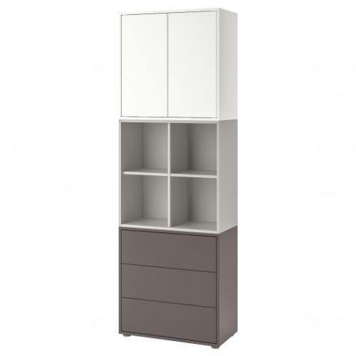 EKET ЭКЕТ, Комбинация шкафов с ножками, белый/светло-серый/темно-серый, 70x35x212 см - 792.865.37