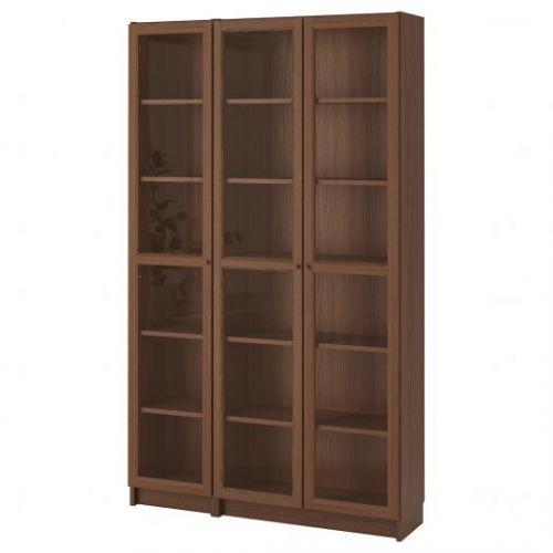 BILLY БИЛЛИ / OXBERG ОКСБЕРГ, Шкаф книжный со стеклянными дверьми, коричневый ясеневый шпон, 120x30x202 см - 892.817.99