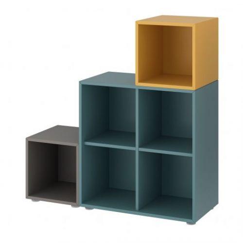 EKET ЭКЕТ, Комбинация шкафов с ножками, темно-серый серо-бирюзовый/золотисто-коричневый, 105x35x107 см - 093.860.93