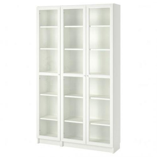 BILLY БИЛЛИ / OXBERG ОКСБЕРГ, Шкаф книжный со стеклянными дверьми, белый, 120x30x202 см - 192.818.06