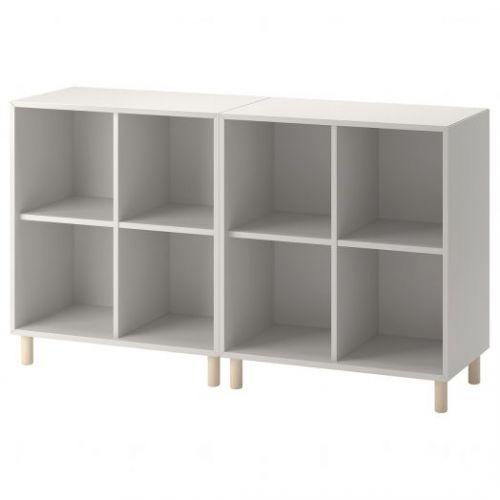 EKET ЭКЕТ, Комбинация шкафов с ножками, светло-серый/дерево, 140x35x80 см - 093.861.06