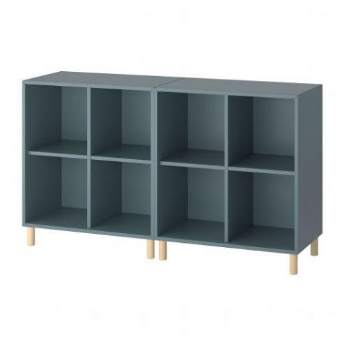 EKET ЭКЕТ, Комбинация шкафов с ножками, серо-бирюзовый/дерево, 140x35x80 см - 693.861.13