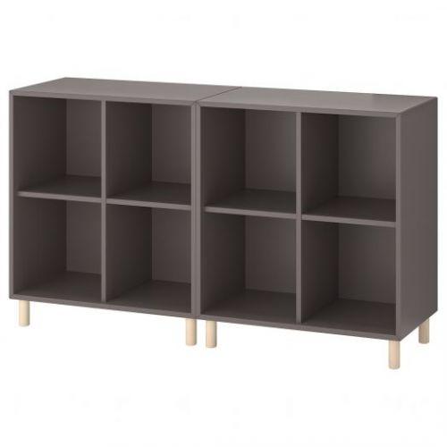 EKET ЭКЕТ, Комбинация шкафов с ножками, темно-серый/дерево, 140x35x80 см - 793.861.03