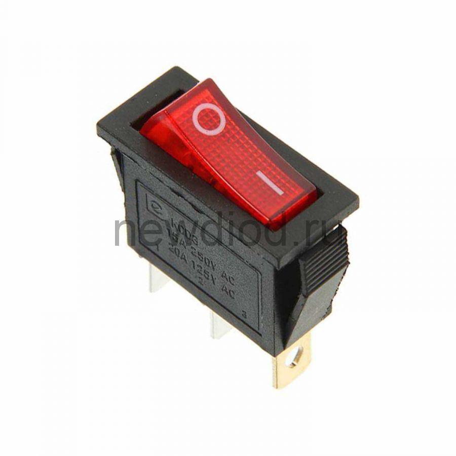 Выключатель клавишный круглый 250V 15А (3с) ON-OFF красный  с подсветкой  REXANT