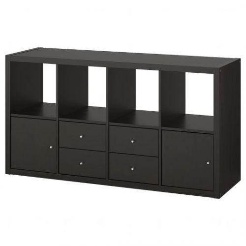 KALLAX КАЛЛАКС, Стеллаж с 4 вставками, черно-коричневый, 77x147 см - 792.783.06