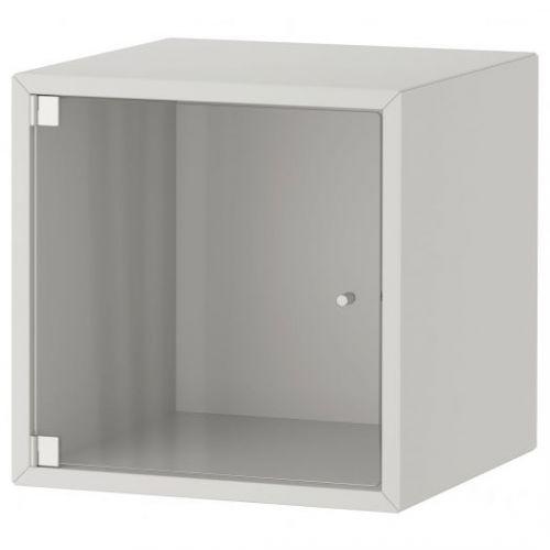 EKET ЭКЕТ, Навесной шкаф со стеклянной дверью, светло-серый, 35x35x35 см - 993.363.67