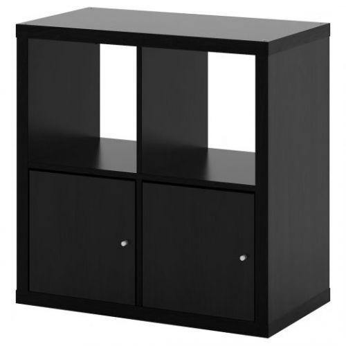 KALLAX КАЛЛАКС, Стеллаж с дверцами, черно-коричневый, 77x77 см - 392.782.71