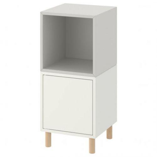 EKET ЭКЕТ, Комбинация шкафов с ножками, белый светло-серый/дерево, 35x35x80 см - 193.860.83