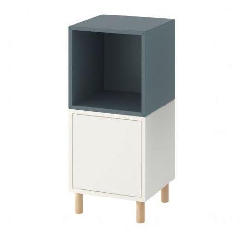 EKET ЭКЕТ, Комбинация шкафов с ножками, белый серо-бирюзовый/дерево, 35x35x80 см - 493.860.86