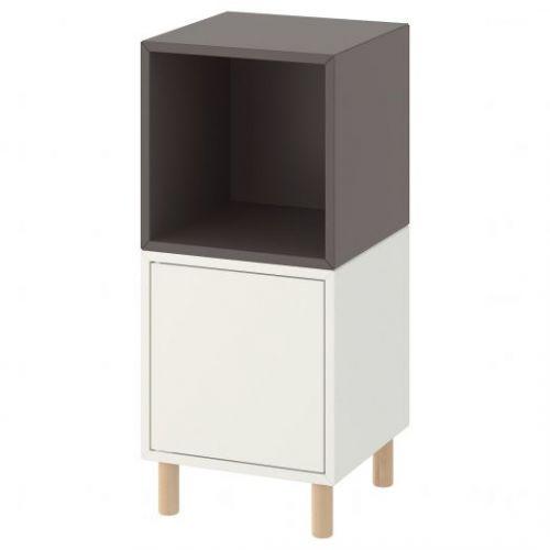 EKET ЭКЕТ, Комбинация шкафов с ножками, белый темно-серый/дерево, 35x35x80 см - 793.860.80