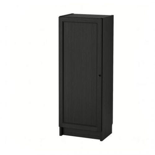 BILLY БИЛЛИ / OXBERG ОКСБЕРГ, Стеллаж с дверью, черно-коричневый, 40x30x106 см - 492.873.88