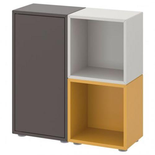 EKET ЭКЕТ, Комбинация шкафов с ножками, темно-серый/светло-серый золотисто-коричневый, 70x25x72 см - 592.864.30