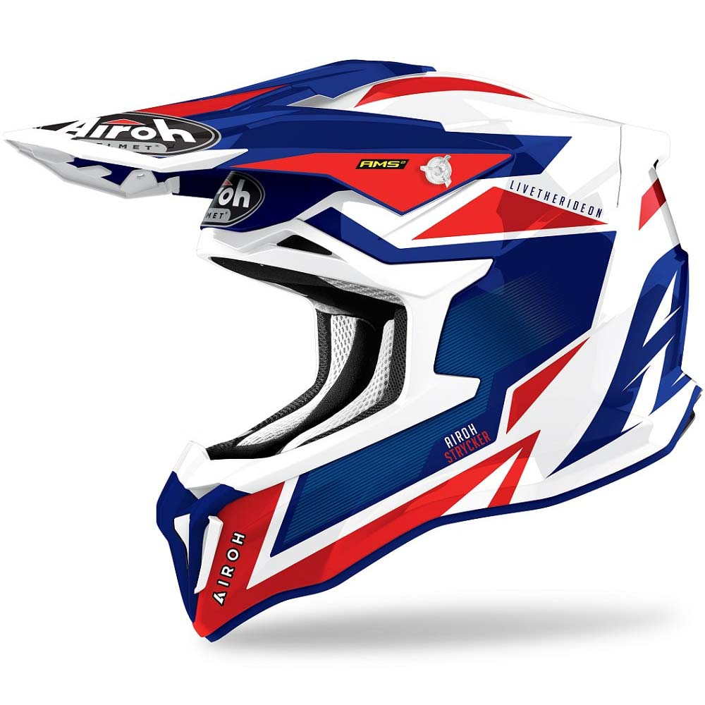 Airoh Strycker Axe Blue/Red Gloss шлем для мотокросса и эндуро