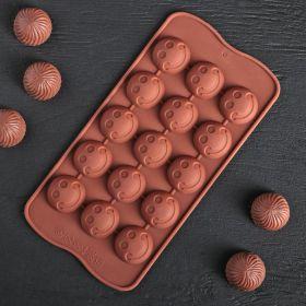 Форма  «Шарик смайл», 20×10 см, 15 ячеек, цвет шоколадный